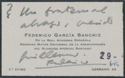 Tarjeta de visita de Federico García Sanchiz saludando efusivamente a Guillermo Fernández-Shaw.