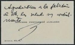 Tarjeta de visita de Melchor Fernández Almagro, agradeciendo una felicitación.