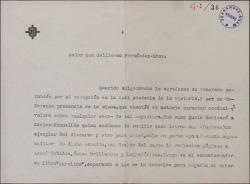 Carta de Dalmiro de la Válgoma a Guillermo Fernández-Shaw, agradeciéndole su felicitación y prometiendo enviarle un ejemplar del discurso de su recepción en la Real Academia de la Historia.