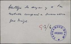 """Tarjeta de visita de Félix de LLanos y Torriglia, expresando su agradecimiento al autor de """"Esperanzas Reales""""."""
