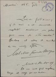 Carta de Melchor Fernández Almagro a Guillermo Fernández-Shaw, pidiéndole un palco para la representación de esa noche.