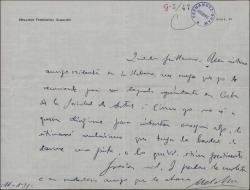 Cartas de Melchor Fernández Almagro a Guillermo Fernández-Shaw, pidiéndole su ayuda para cierto amigo y agradeciéndole su interés.