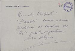 Carta de Manuel Sánchez Camargo dirigida a Rafael sobre cierto pintor argentino.