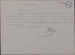Carta de Félix de Llanos y Torriglia a Guillermo Fernández-Shaw, enviándole copia de un artículo que ha escrito sobre Carlos Fernández Shaw.