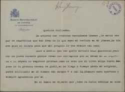 """Carta de Félix de Llanos y Torriglia a Guillermo Fernández-Shaw, enviándole unas cuartillas para ser publicadas en """"La Época""""."""