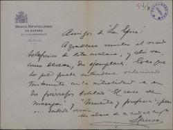 """Carta de Félix de Llanos y Torriglia a """"La Epoca"""", enviando una publicación suya relacionada con la actualidad."""
