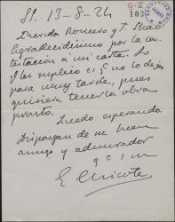 Carta de Enrique Chicote a Guillermo Fernández-Shaw y Federico Romero, suplicando le manden pronto la obra ofrecida.