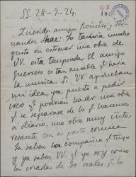 Carta de Enrique Chicote a Guillermo Fernández-Shaw y Federico Romero, pidiéndoles una obra teatral interesante.