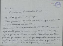 Carta de Matilde Pretel a Guillermo Fernández-Shaw, pidiéndole recomendación para una conocida suya y recordando con cariño a Carlos Fernández-Shaw.