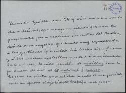 Carta de Matilde Pretel a Guillermo Fernández-Shaw, comentando que su recomendada ha desistido de trabajar en el teatro y agradeciéndole sus gestiones.