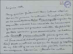 """Carta de Matilde Pretel a Guillermo Fernández-Shaw, felicitándole por el éxito de """"Doña Francisquita"""" en Viena y pidiéndole un libreto."""