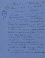 Carta de Enrique Borrás a Guillermo Fernández-Shaw alegrándose de tener noticias suyas, después de la guerra pasada.