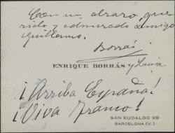 Tarjeta de visita de Enrique Borrás con un saludo para Guillermo Fernández-Shaw.