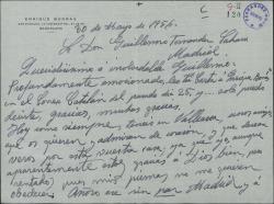 """Carta de Enrique Borrás a Guillermo Fernández-Shaw, agradeciéndole la """"Carta"""" dirigida a él que ha publicado en """"El Correo Catalán""""."""