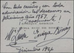Tarjeta de visita de Enrique Borrás a Guillermo Fernández-Shaw, felicitando el año nuevo.