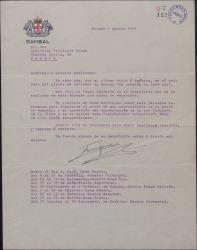 """Carta de Enrique Rambal a Guillermo Fernández-Shaw, consultándole ciertas variantes que desea hacer en """"Un corazón en buen uso""""."""