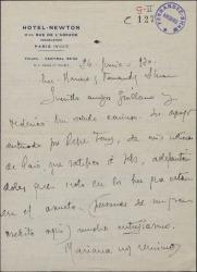 """Carta de Pepe Romeu a Guillermo Fernández-Shaw y Federico Romero, dándoles noticias del proyectado estreno de """"Doña Francisquita"""" en París."""