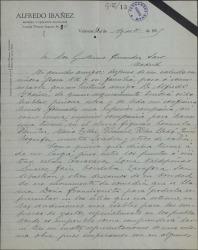 """Carta de Patricio León a Guillermo Fernández-Shaw comunicándole que ha formado compañia teatral y pidiendo autorización para representar """"Doña Francisquita""""."""