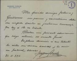 Carta de Eugenio Casals a Guillermo Fernández-Shaw y Federico Romero, justificando su ausencia en un homenaje que se les tributa.