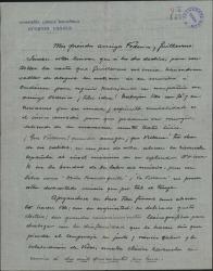 Carta de Eugenio Casals a Guillermo Fernández-Shaw y Federico Romero, manifestando su entusiasmo por la obra que ellos realizan en el género lírico.