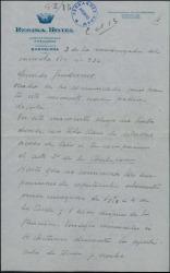 """Carta de Eugenio Casals a Guillermo Fernández-Shaw dándole detallada cuenta de los ensayos y preparativos de la obra """"La Chulapona""""."""