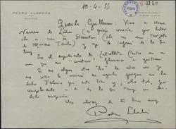 Carta de Pedro Llabrés a Guillermo Fernández-Shaw, prometiendo ayudar cuando le sea posible al cantante por el que se interesa.