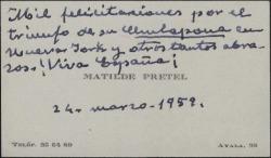 """Tarjeta de visita de Matilde Pretel a Guillermo Fernández-Shaw, felicitándole por el éxito de """"La chulapona"""" en Nueva York."""