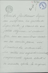 """Carta de Eugenio Casals a Guillermo Fernández-Shaw diciendo que espera impaciente el ejemplar de """"La Cibeles""""."""