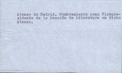 Nombramiento de Carlos Fernández Shaw como Vicepresidente de la Sección de Literatura del Ateneo de Madrid.