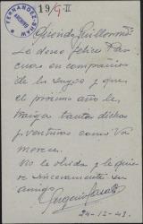 Carta de Eugenio Casals a Guillermo Fernández-Shaw felicitando las Navidades.