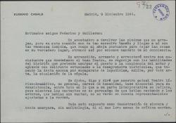 Carta de Eugenio Casals a Guillermo Fernández-Shaw y Federico Romero criticando el actual teatro lírico-dramático.