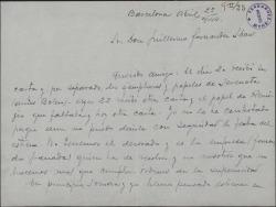 """Carta de Francisco Arias a Guillermo Fernández-Shaw, diciéndole que ha recibido los papeles de la obra """"Serenata"""", que piensan estrenar en breve."""