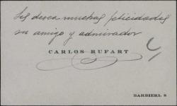 Tarjeta de visita de Carlos Rufart deseando felicidades.
