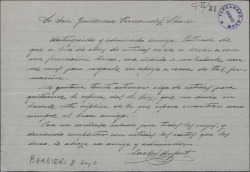Carta de Carlos Rufart a Guillermo Fernández-Shaw, pidiéndole alguna obra suya para estrenarla.
