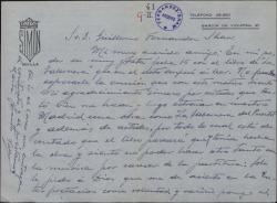 """Carta de Valeriano Ruiz París a Guillermo Fernández-Shaw, satisfecho por ser el encargado de estrenar en Madrid """"La tabernera del puerto""""."""