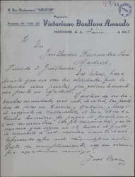 Carta de José Pello a Guillermo Fernández-Shaw, prometiendo pagarle en breve una cantidad que le adeuda.
