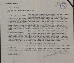 """Carta de Enrique Rambal a Guillermo Fernández-Shaw, diciéndole que ha empezado a ensayar """"Sexto piso"""" y pidiéndole varios detalles sobre la obra."""