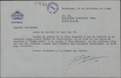 Carta de Enrique Rambal a Guillermo Fernández-Shaw, refiriéndose a dos obras suyas.