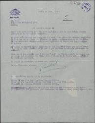 """Carta de Enrique Rambal a Guillermo Fernández-Shaw, diciéndole que va a marchar a América y necesita cierto trámite para llevar en su repertorio la obra """"Sexto piso""""."""