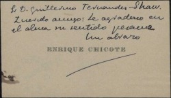 Tarjeta de visita de Enrique Chicote a Guillermo Fernández-Shaw, correspondiendo a un pésame.