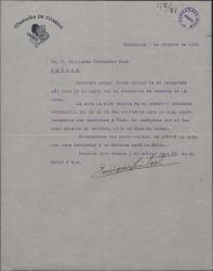 Carta de Enrique Guitart a Guillermo Fernández-Shaw, diciendo que la obra ha sido puesta ya en ensayo.
