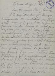Carta de Vicente Carrión a Guillermo Fernández-Shaw y Federico Romero, pidiéndoles trabajo.