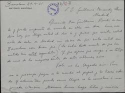 Carta de Antonio Martelo a Guillermo Fernández-Shaw, deseando mucho éxito para la obra en Barcelona.