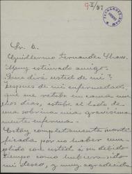 Carta de Matilde Pretel a Guillermo Fernández-Shaw, excusándose por no haber cumplido y prometiendo enviarle los retratos y las notas que le ha pedido.