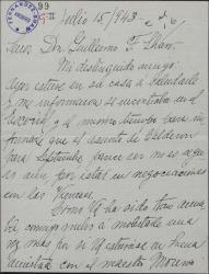 Carta de Acacia Guerra a Guillermo Fernández-Shaw, pidiéndole una presentación para el maestro Moreno Torroba.