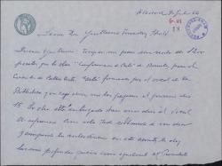Carta de Julián Moret a Guillermo Fernández-Shaw, sobre el tema de la venta de un libro.
