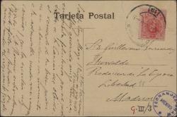"""Tarjeta postal de Gonzalo Segovia, Conde de Casa Segovia, a Guillermo Fernández-Shaw, felicitándole por el éxito de """"La canción del olvido""""."""