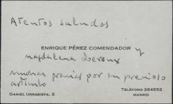 Tarjeta de visita de Enrique Pérez Comendador y su esposa dando las gracias a Guillermo Fernández-Shaw por su precioso artículo.