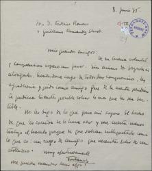 Carta de Manuel Fontanals a Guillermo Fernández-Shaw y Federico Romero, pidiéndoles le abonen una cuenta pendiente.