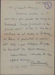 Carta de Manuel Fontanals a Guillermo Fernández-Shaw, pidiéndole una cita para hablar de algo interesante.